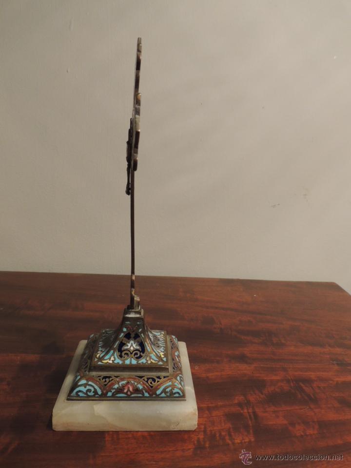 Antigüedades: CRUZ DE ESMALTE CLOISONNE SOBRE MARMOL - Foto 5 - 44144058