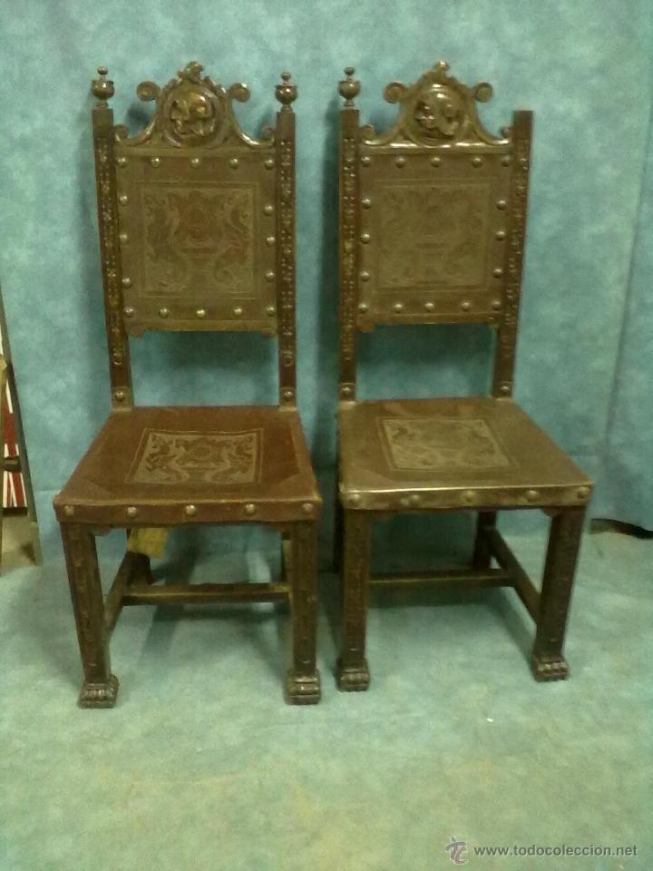 pareja de sillas roble tallado pata garra cuero - Comprar Sillas ...