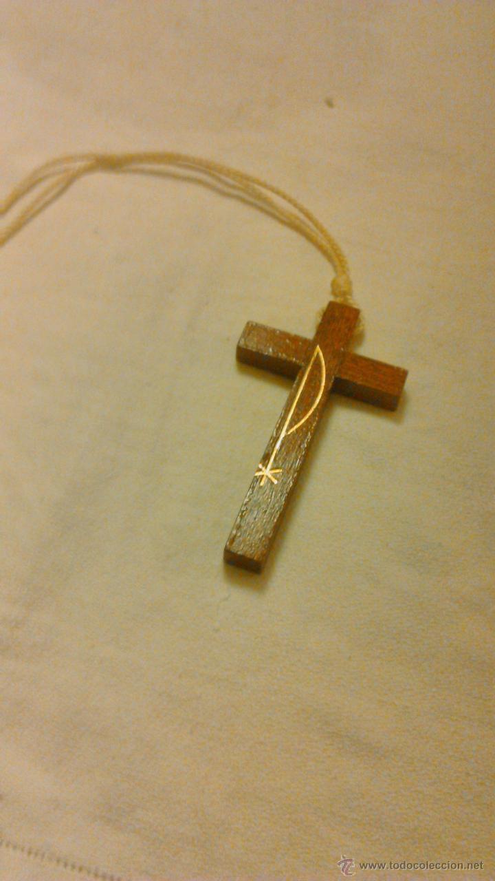 Antigüedades: Bonita cruz de madera .PROFISSAO DE FÉ. PROFESIÓN DE FÉ. - Foto 2 - 44165025
