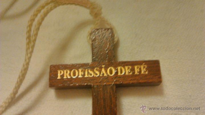 Antigüedades: Bonita cruz de madera .PROFISSAO DE FÉ. PROFESIÓN DE FÉ. - Foto 4 - 44165025