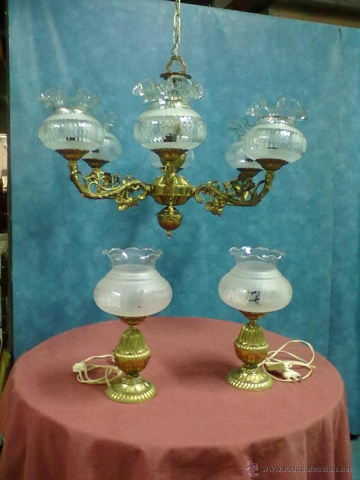Modernas lampara techo y dos lamparas mesilla n comprar l mparas antiguas en todocoleccion - Lamparas en dos hermanas ...