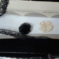Antigüedades: CAJA CON PUNTILLAS NEGRAS,, EN LA CAJA PONE: ''PUNTILLAS MUÑECA''. Lote 44189309