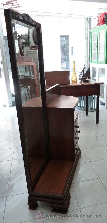 Antigüedades: MUEBLE DE MODISTA, DE RECIBIDOR O TOCADOR - CON ESPEJO Y CAJONES - Foto 6 - 44198258