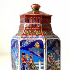 Antigüedades: TIBOR JARRON CON TAPA * ESMALTE DE CLOISONNE * ESCENA ORIENTAL. Lote 44204813