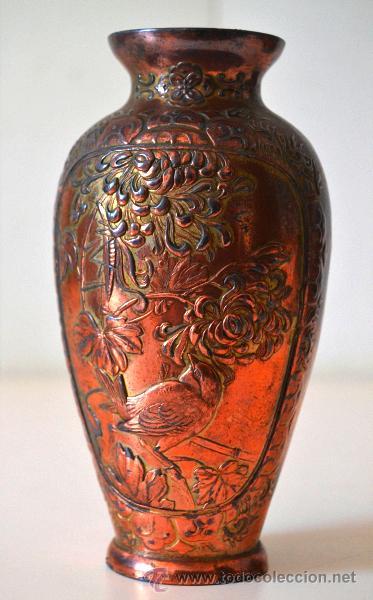 Antigüedades: ANTIGUO JARRON FLORERO trabajo en COBRE * relieve - Foto 2 - 44205120