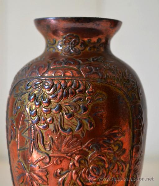 Antigüedades: ANTIGUO JARRON FLORERO trabajo en COBRE * relieve - Foto 3 - 44205120