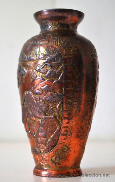 Antigüedades: ANTIGUO JARRON FLORERO trabajo en COBRE * relieve - Foto 4 - 44205120