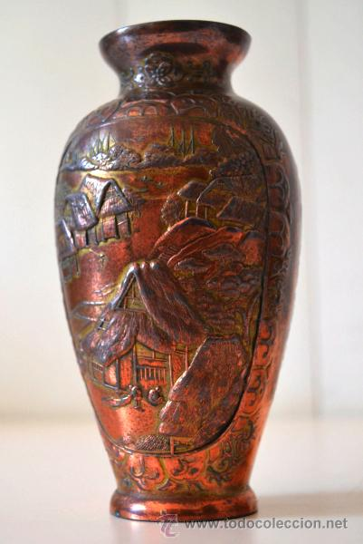 Antigüedades: ANTIGUO JARRON FLORERO trabajo en COBRE * relieve - Foto 6 - 44205120