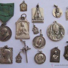 Antigüedades: MEDALLAS RELIGIOSAS, LOTE 16 MEDALLAS , DE PLATA 13, INVERSION TA1. Lote 44214677