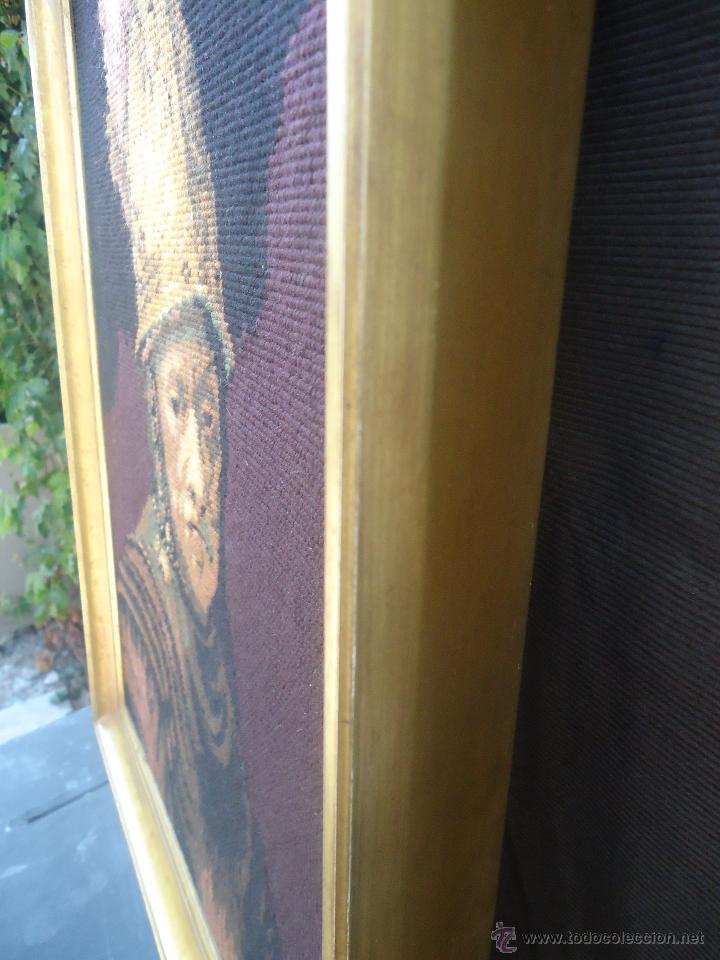 Antigüedades: Antiguo cuadro tapiz a punto de cruz del hombre del casco de oro de Rembrandt - Foto 4 - 44223341
