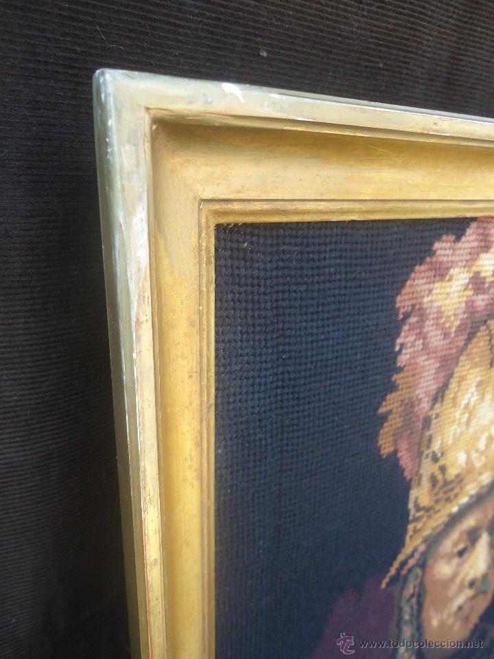 Antigüedades: Antiguo cuadro tapiz a punto de cruz del hombre del casco de oro de Rembrandt - Foto 9 - 44223341