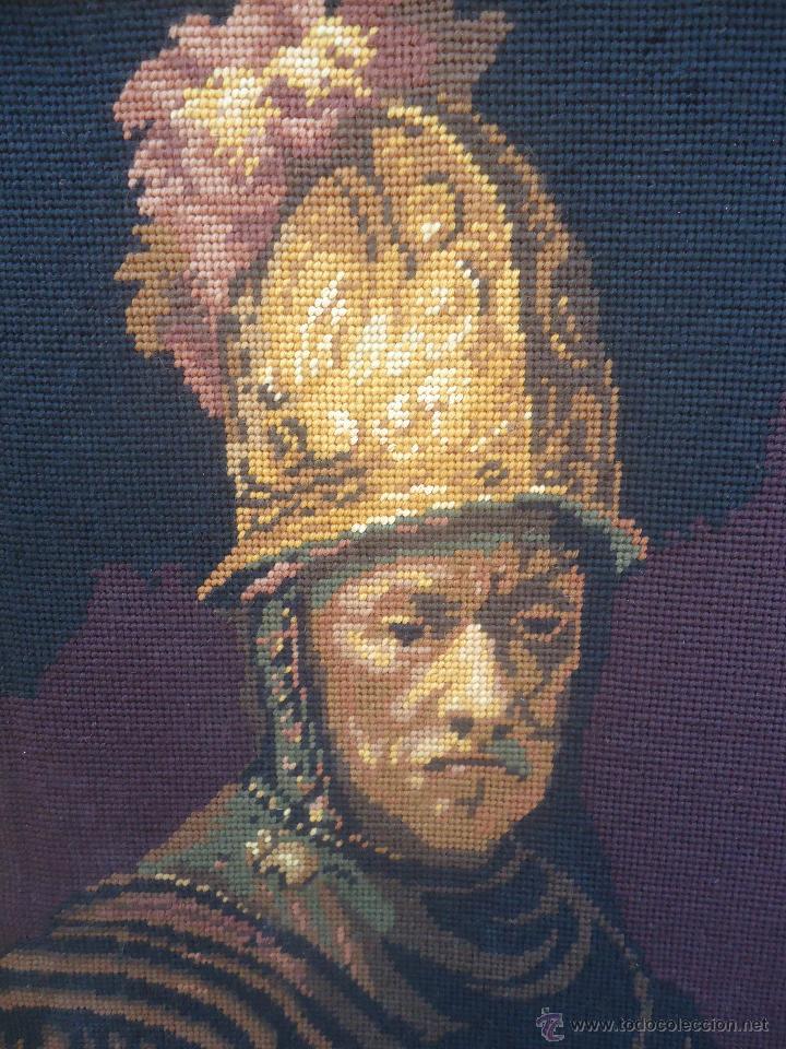 Antigüedades: Antiguo cuadro tapiz a punto de cruz del hombre del casco de oro de Rembrandt - Foto 11 - 44223341