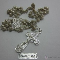 Antigüedades: ROSARIO FILIGRANA BOLA 5MM PLATA LEY. Lote 44266099