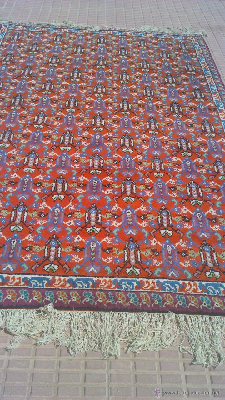 Antigüedades: Preciosa alfombra persa tonos rojos ,azules y borde morado. Oriental. - Foto 2 - 44276010
