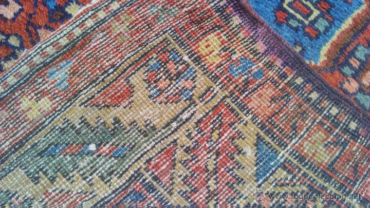 Antigüedades: Preciosa alfombra persa tonos rojos ,azules y borde morado. Oriental. - Foto 6 - 44276010