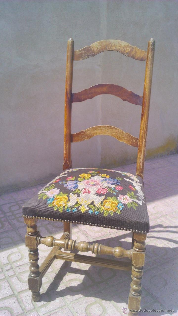 Antigua silla de roble con tapizado hecho de pu comprar - Tapizado de sillas antiguas ...