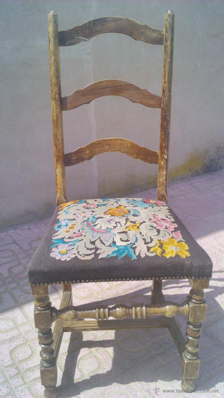 Antigua silla de roble con tapizado hecho de pu comprar - Sillas de roble ...
