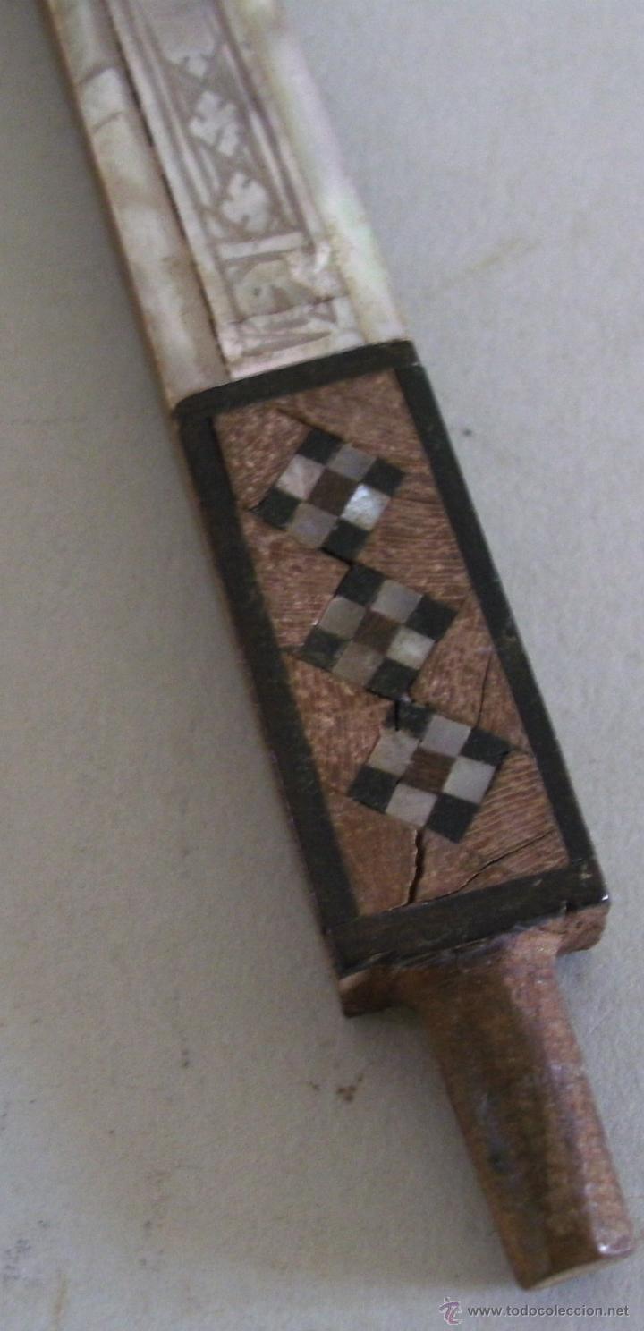 Antigüedades: cruz de jerusalen, con encrustaciones de nacar y adorno de hueso o marfil (9x16cm aprox) - Foto 7 - 44302758