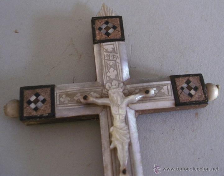 Antigüedades: cruz de jerusalen, con encrustaciones de nacar y adorno de hueso o marfil (9x16cm aprox) - Foto 9 - 44302758