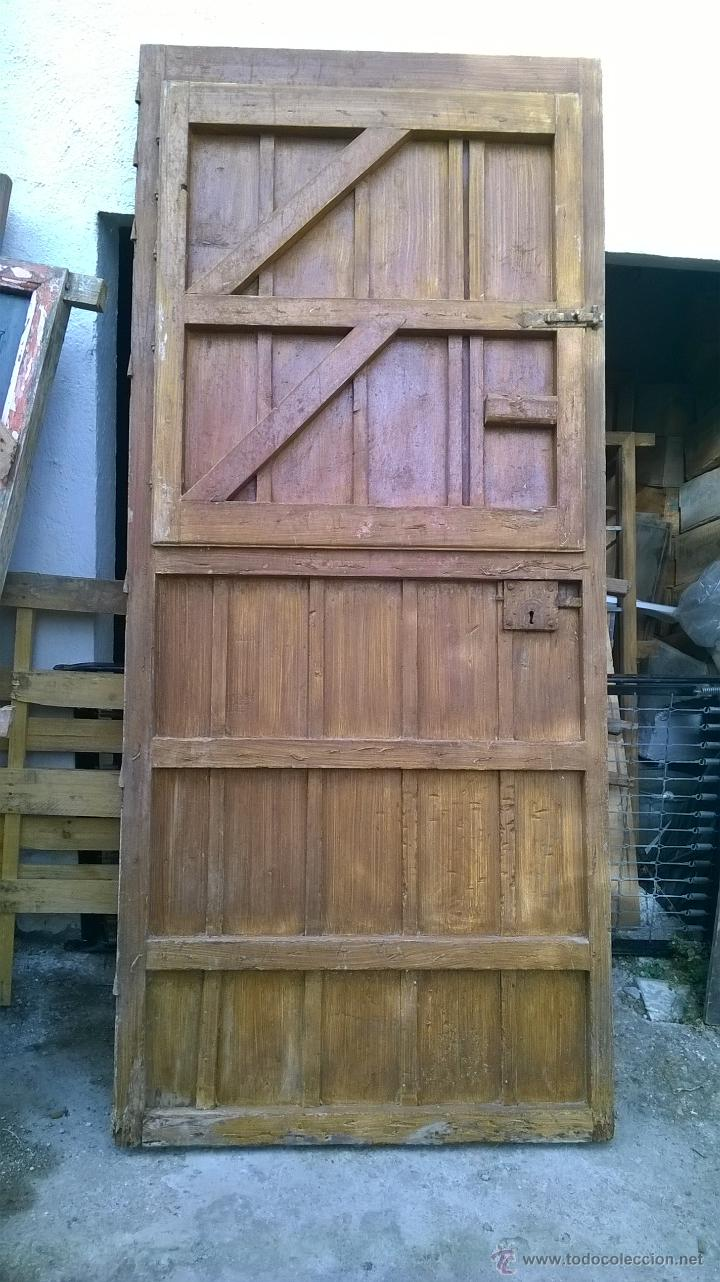 Antigüedades: puerta rustica antigua mas de 100 años alto 2,46 ancho 102,5 grueso 5 - Foto 2 - 44321103