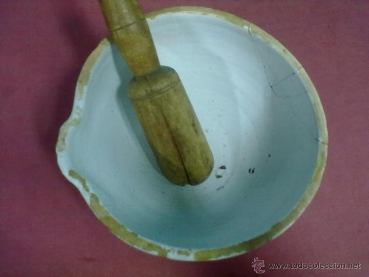 Antigüedades: ALMIREZ CERAMICA VASCA MANO DE NOGAL - Foto 3 - 44323140