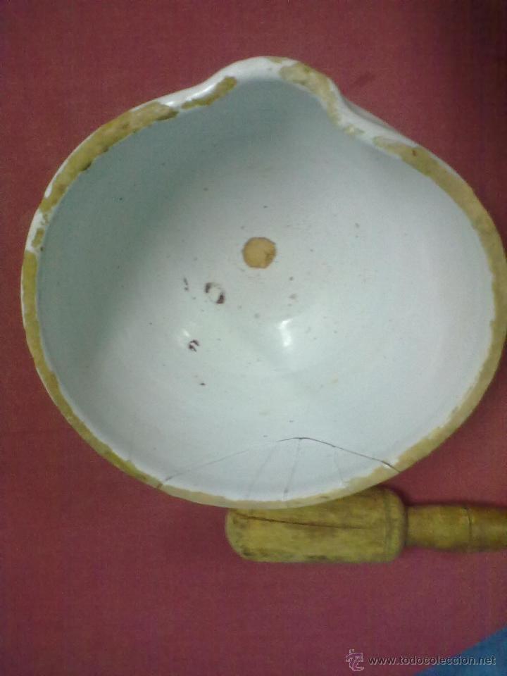 Antigüedades: ALMIREZ CERAMICA VASCA MANO DE NOGAL - Foto 4 - 44323140
