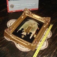 Antigüedades: ANTIGUO MARCO FRANCES VIDRIO BOMBÉ DORADO - REZO 22X18. Lote 44350259