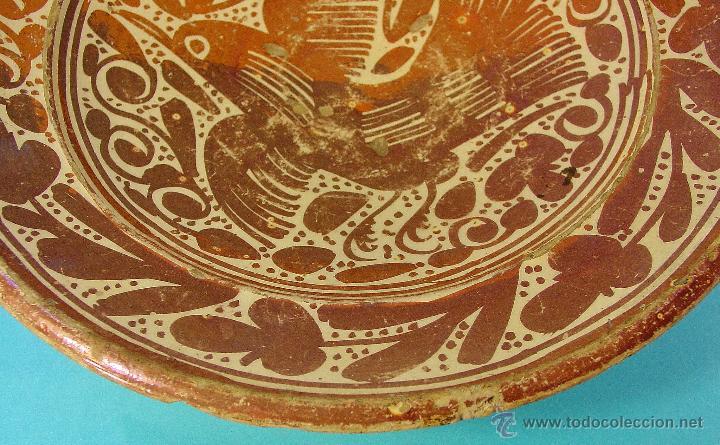 Antigüedades: GRAN PLATO EN CERÁMICA DE REFLEJO METÁLICO, DECORADO CON PARDALOT. MANISES. SIGLO XVII. - Foto 4 - 44351185