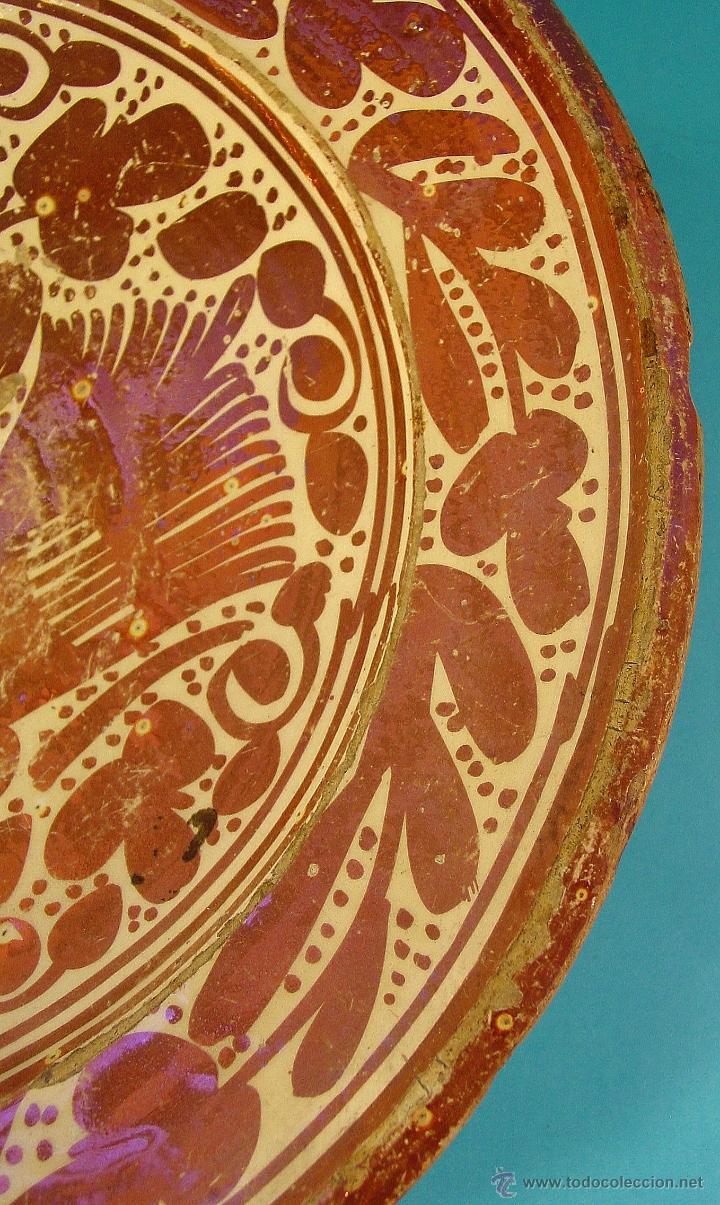 Antigüedades: GRAN PLATO EN CERÁMICA DE REFLEJO METÁLICO, DECORADO CON PARDALOT. MANISES. SIGLO XVII. - Foto 5 - 44351185