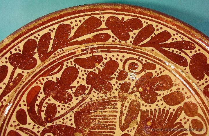 Antigüedades: GRAN PLATO EN CERÁMICA DE REFLEJO METÁLICO, DECORADO CON PARDALOT. MANISES. SIGLO XVII. - Foto 6 - 44351185