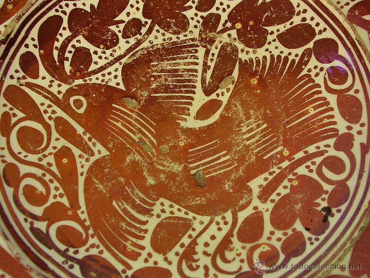 Antigüedades: GRAN PLATO EN CERÁMICA DE REFLEJO METÁLICO, DECORADO CON PARDALOT. MANISES. SIGLO XVII. - Foto 7 - 44351185