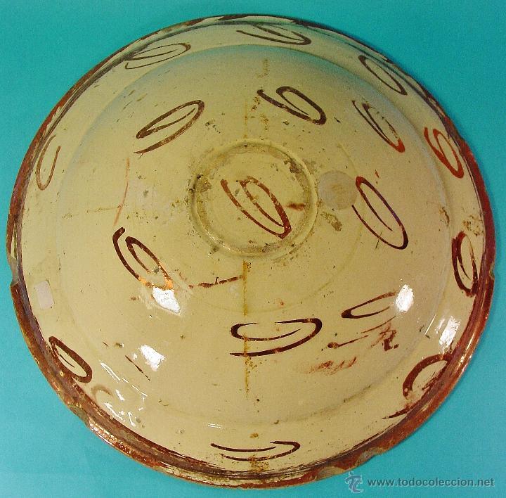 Antigüedades: GRAN PLATO EN CERÁMICA DE REFLEJO METÁLICO, DECORADO CON PARDALOT. MANISES. SIGLO XVII. - Foto 8 - 44351185