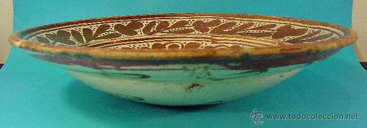 Antigüedades: GRAN PLATO EN CERÁMICA DE REFLEJO METÁLICO, DECORADO CON PARDALOT. MANISES. SIGLO XVII. - Foto 16 - 44351185
