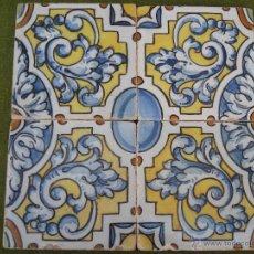 Antigüedades: LOTE DE 4 AZULEJOS ANTIGUOS DE TALAVERA / TOLEDO / CERAMICA RUIZ DE LUNA. AZULEJO.. Lote 44368807