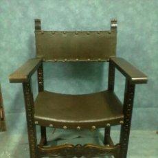 Antigüedades: SILLON FRAILERO NOGAL ESPAÑOL TALLADO. Lote 44390609