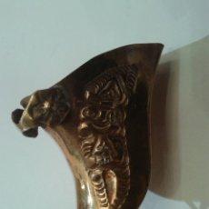 Antigüedades: MINIATURA DE ESTRIBO Y HERRADURA COLONIAL EN BRONCE Y COBRE DE 7 CM. Lote 44421166