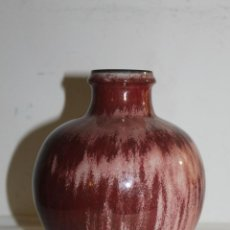 Antigüedades: JARRÓN EN PORCELANA CHINA ESMALTADA - SANGRE DE TORO - MARCAS EN LA BASE. Lote 141309604