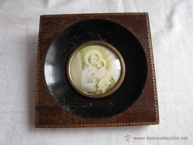 PEQUEÑO MARCO CRISTAL OVALADO IMAGEN DE SAN JOSE (Antigüedades - Hogar y Decoración - Portafotos Antiguos)