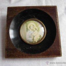 Antigüedades: PEQUEÑO MARCO CRISTAL OVALADO IMAGEN DE SAN JOSE. Lote 44438734
