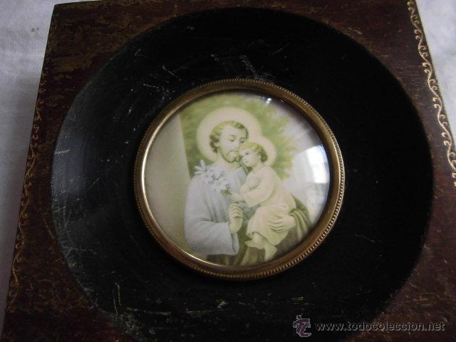 Antigüedades: PEQUEÑO MARCO CRISTAL OVALADO IMAGEN DE SAN JOSE - Foto 2 - 44438734