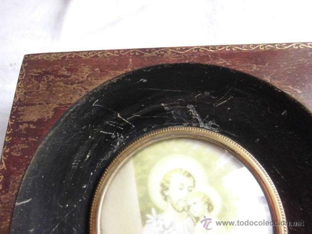 Antigüedades: PEQUEÑO MARCO CRISTAL OVALADO IMAGEN DE SAN JOSE - Foto 3 - 44438734