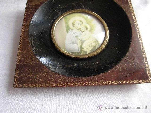 Antigüedades: PEQUEÑO MARCO CRISTAL OVALADO IMAGEN DE SAN JOSE - Foto 5 - 44438734