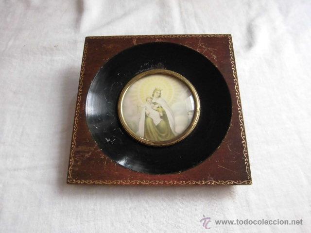 PEQUEÑO MARCO CRISTAL OVALADO IMAGEN DE LA VIRGEN DEL CARMEN (Antigüedades - Hogar y Decoración - Portafotos Antiguos)