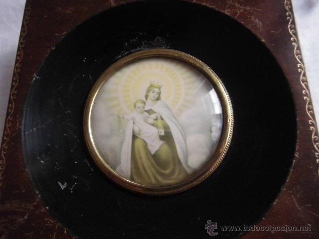 Antigüedades: PEQUEÑO MARCO CRISTAL OVALADO IMAGEN DE LA VIRGEN DEL CARMEN - Foto 3 - 44438780