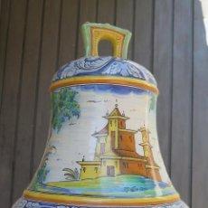 Antigüedades: MUY RARA ! ANTIGUA CAMPANA DE RUIZ DE LUNA. TALAVERA. GRAN TAMAÑO. Lote 44444278
