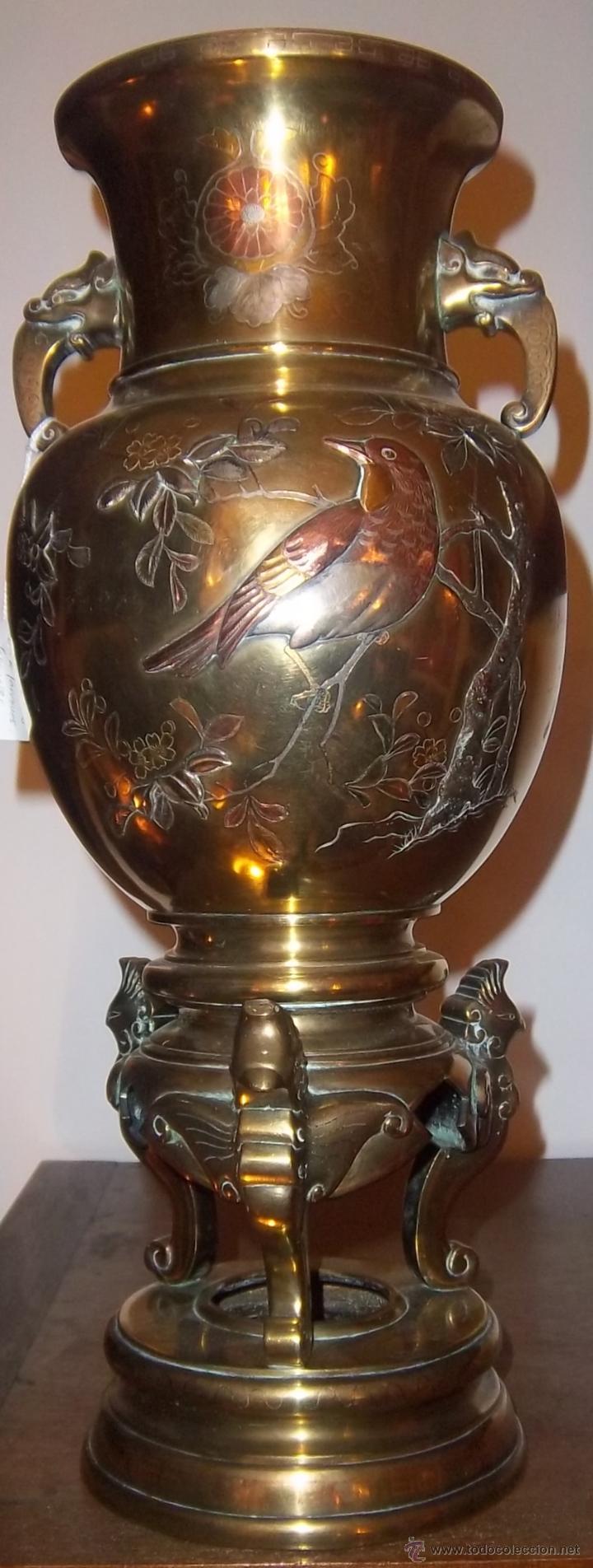 Antigüedades: PAREJA DE COPAS JAPONESAS, DE BRONCE, COBRE Y PLATA, CINCELADAS. SIGLO XIX - Foto 2 - 44448390