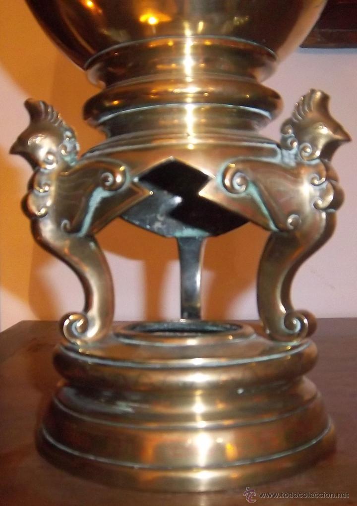 Antigüedades: PAREJA DE COPAS JAPONESAS, DE BRONCE, COBRE Y PLATA, CINCELADAS. SIGLO XIX - Foto 4 - 44448390