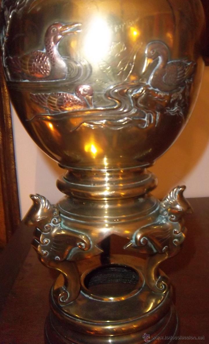 Antigüedades: PAREJA DE COPAS JAPONESAS, DE BRONCE, COBRE Y PLATA, CINCELADAS. SIGLO XIX - Foto 5 - 44448390