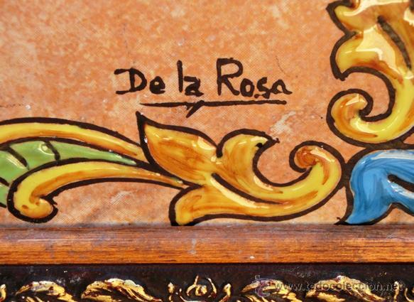 SIMPÁTICO AZULEJO FIRMADO. DE LA ROSA. GRACIAS POR NO FUMAR. ENMARCADO. VALENCIA. (Antigüedades - Porcelanas y Cerámicas - Azulejos)