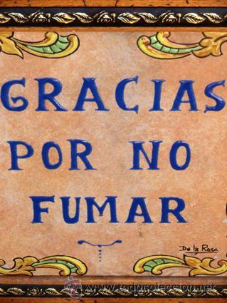Antigüedades: SIMPÁTICO AZULEJO FIRMADO. DE LA ROSA. GRACIAS POR NO FUMAR. ENMARCADO. VALENCIA. - Foto 4 - 44455301